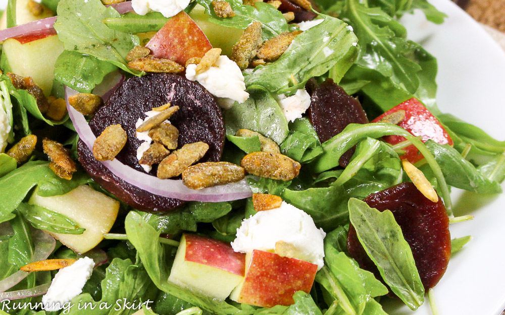 Beet and apple salad recipe with pomegranate dressing / Running in a Skirt