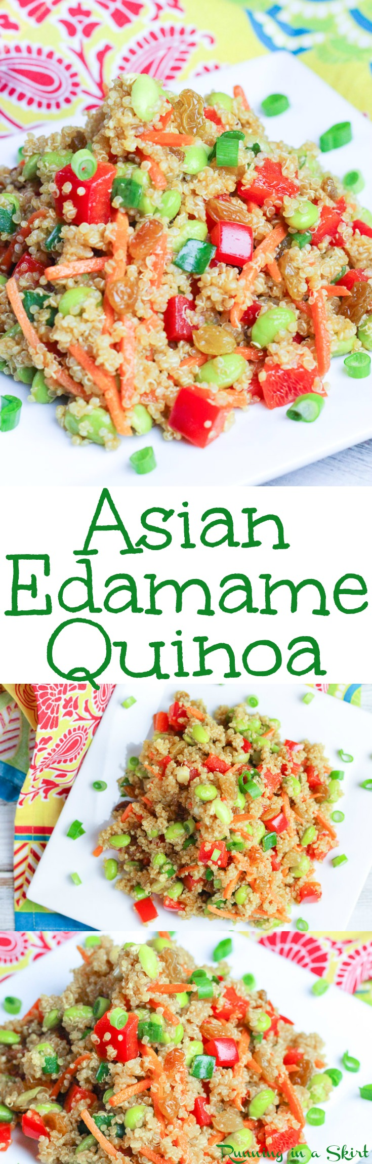 Healthy Asian Quinoa Salad recipe with Edamame - this high protein vegetarian and vegan dish is easy to make!  It uses sesame oil, soy sauce and honey for a clean eating dressing.  Packed with veggies making it the perfect food for dinners, lunches or appetizers. / Running in a Skirt