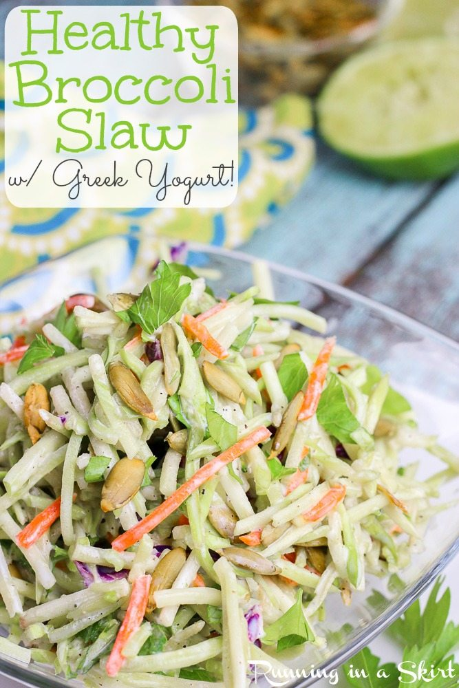 Healthy Broccoli Slaw Recipe with greek yogurt