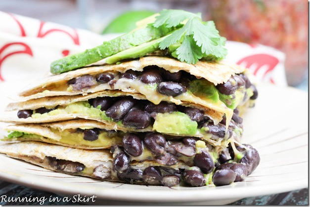 Black Bean Quesadilla with Avocado / A healthy Mexican food treat! Super easy to make.