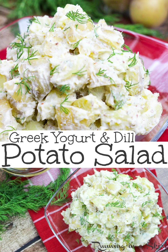 Potato salad doesn't have to be a heavy, fattening side dish. This Healthy Potato Salad with Greek Yogurt is a lighter version of the salad that you love, without all of the calories. #potatosalad #greekyogurt #healthysalad #sidedish via @juliewunder