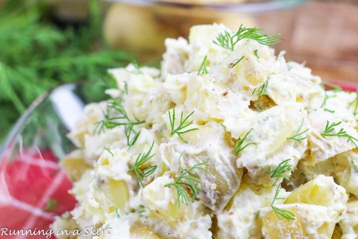 Healthy Potato Salad with Greek Yogurt in a bowl.