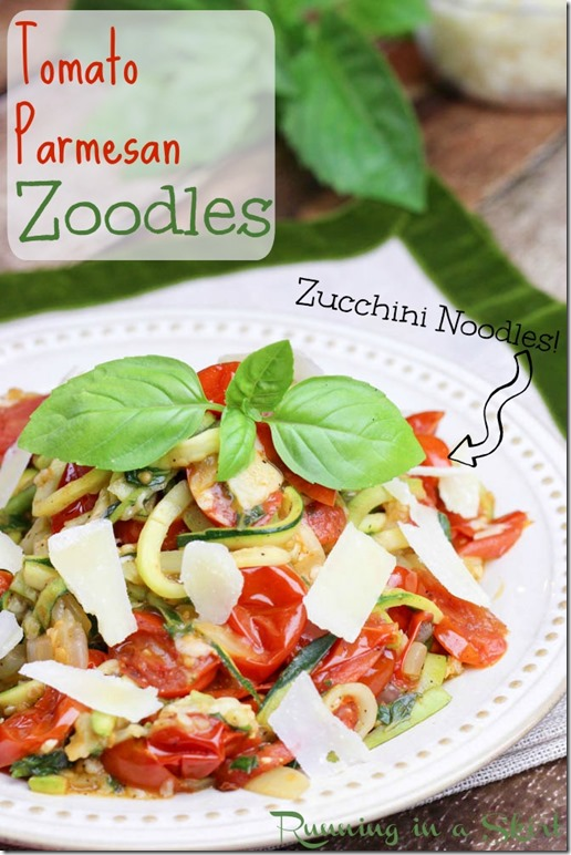 tomato parmesan zoodles / Spiralize zucchini noodles for a quick and easy low fat meal!