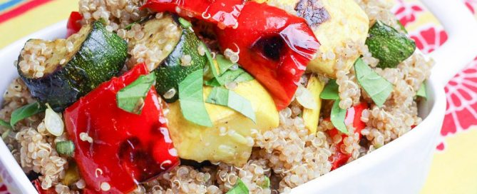 Balsamic honey grilled vegetable quinoa salad