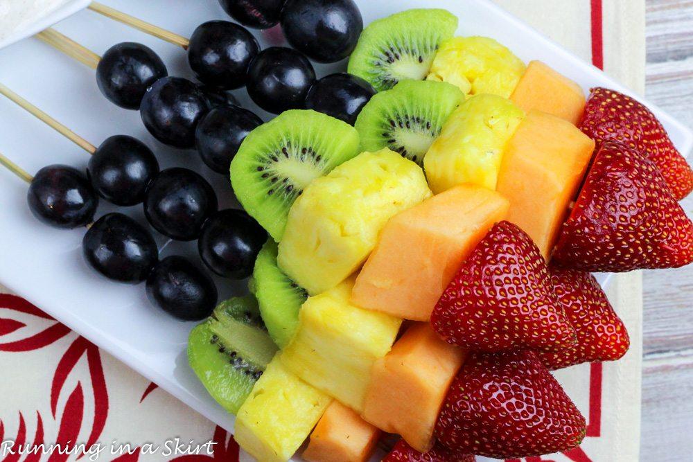 Rainbow Fruit Skewers with Greek Yogurt Honey Lime Sauce