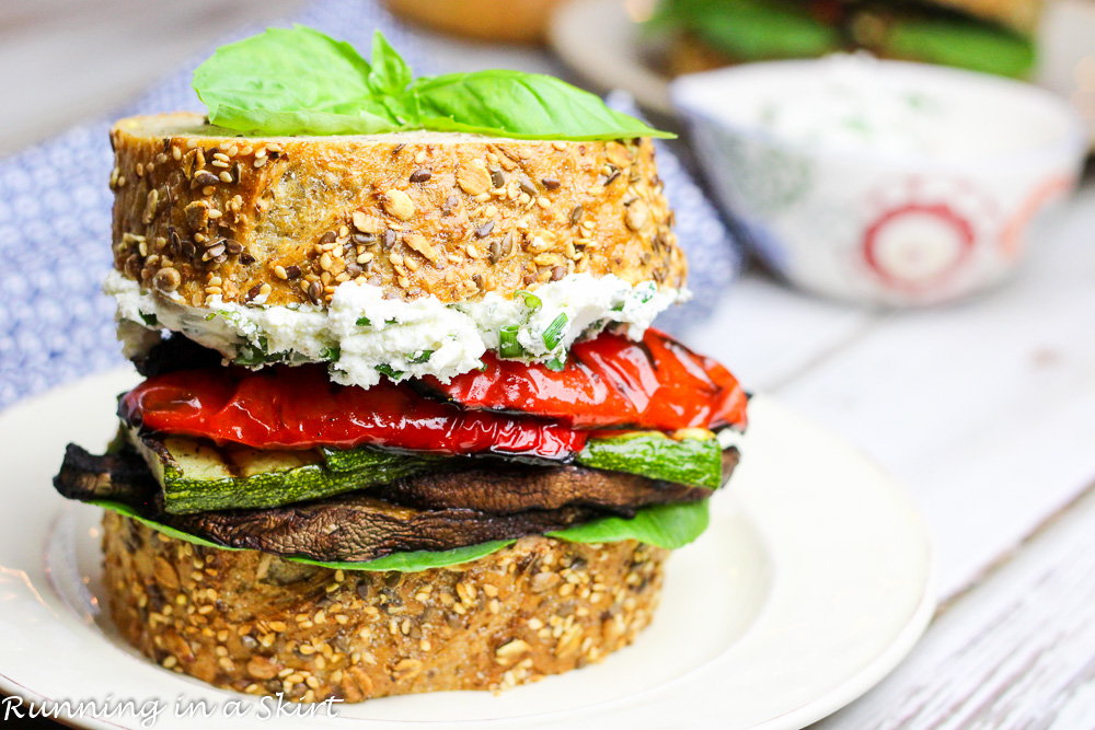 Grilled Vegetable Goat Cheese Sandwich