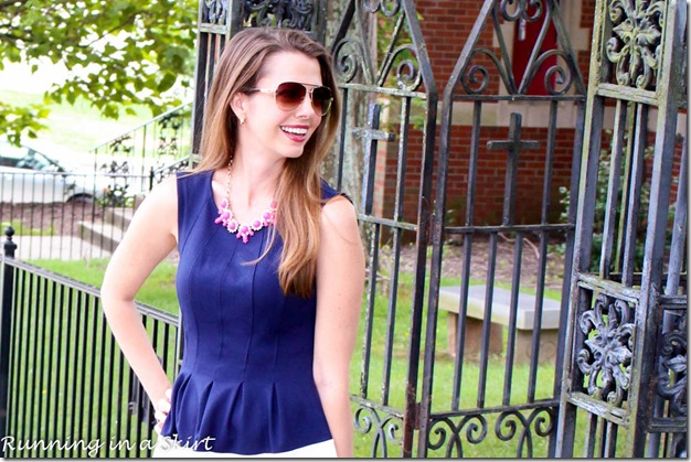 Navy Dress with Pink Accessories