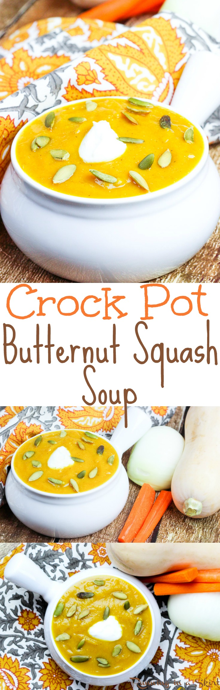 Crock Pot Butternut Squash Soup recipe. Topped with pumpkin seeds and greek yogurt and packed with hidden veggies and an apple! A healthy, vegetarian comfort foods recipe for fall! Includes step by step instructions on how to cut a butternut squash without hurting your fingers | Running in a Skirt via @juliewunder