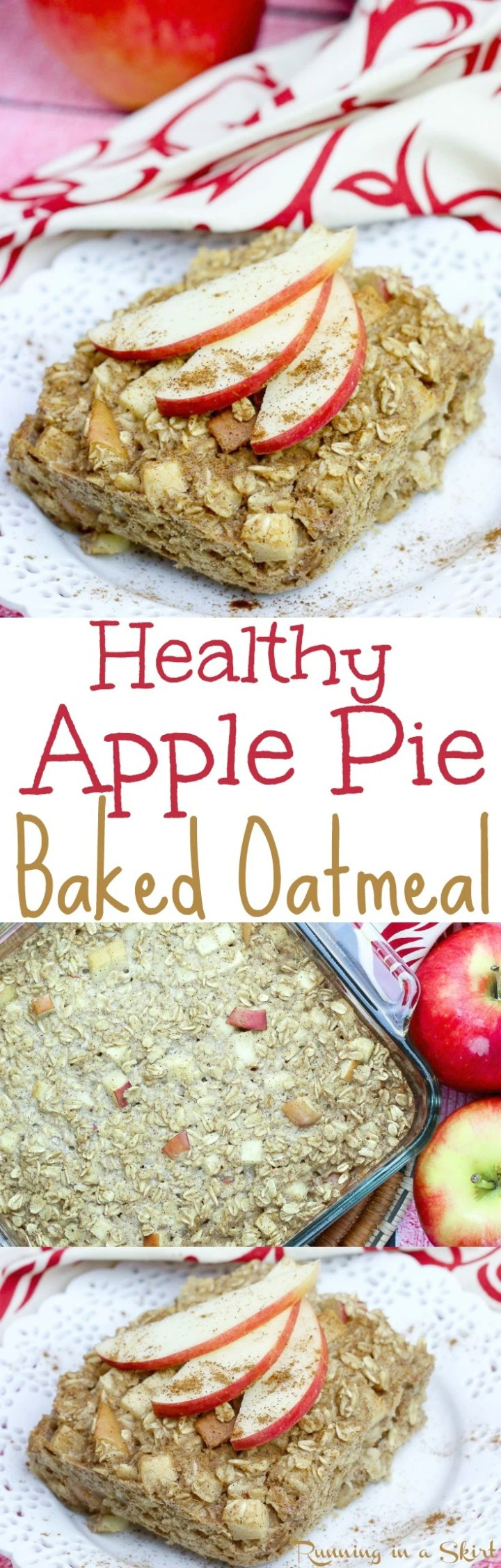 Healthy Apple Pie Baked Oatmeal recipe. The perfect clean eating apple baked oatmeal for fall morning! Easy and delicious using rolled oats, eggs, cinnamon and apple sauce! Dairy-free and gluten-free friendly. / Running in a Skirt via @juliewunder
