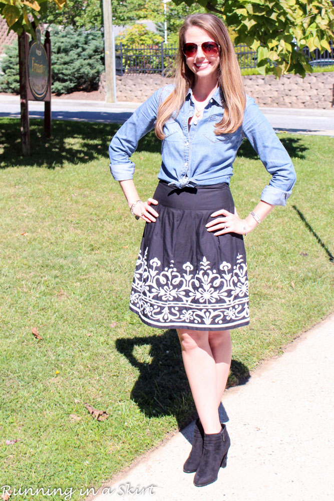 Black and White Skirt with Denim Shirt - cute way to mix up closet staples/ Running in a Skirt
