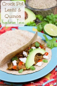 Crock Pot Lentil Taco Recipe- Lentil Quinoa Tacos area meaty, hearty, plant based, tasty vegetarian taco / Running in a Skirt