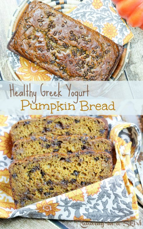 Healthy Greek Yogurt Pumpkin Bread with chocolate chips! No oil and mostly whole wheat flour!/ Running in a Skirt