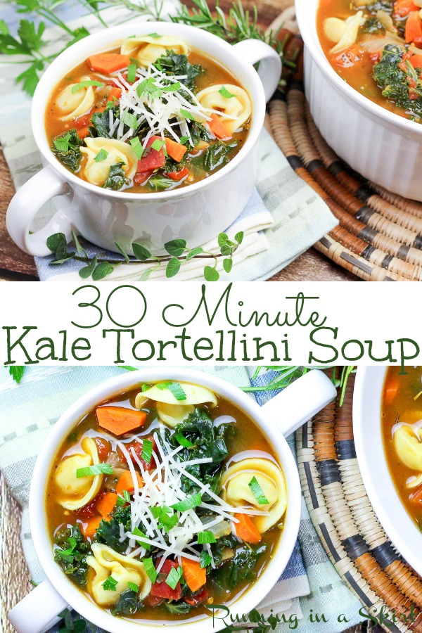 30 Minute Vegetarian Kale Tortellini Soup recipe - healthy, quick, easy and packed with vegetables like carrots, onion, tomato. Made stovetop and uses frozen cheese tortellini. The perfect meatless comfort foods for families or couples. / Running in a Skirt #soup #vegetarian #healthy #recipe #kale #tortellini #30minutemeal #mealplanning #pasta #meatless #meatlessmonday via @juliewunder