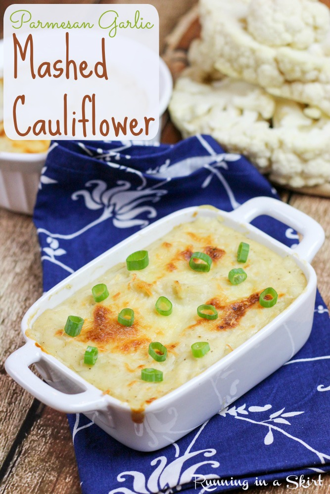Don't let potatoes have all the fun! Try my 5 ingredient Parmesan Garlic Mashed Cauliflower recipe! / Running in a Skirt