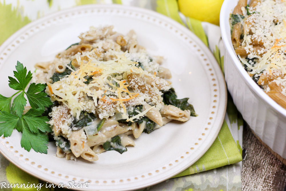 Skinny Spinach, Parmesan and Lemon Vegetarian Baked Penne/ Running in a Skirt
