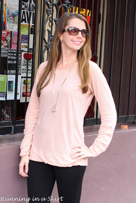 Fall/Winter look - pale pink tunic with black leggings and brown riding boots/ Running in a Skirt