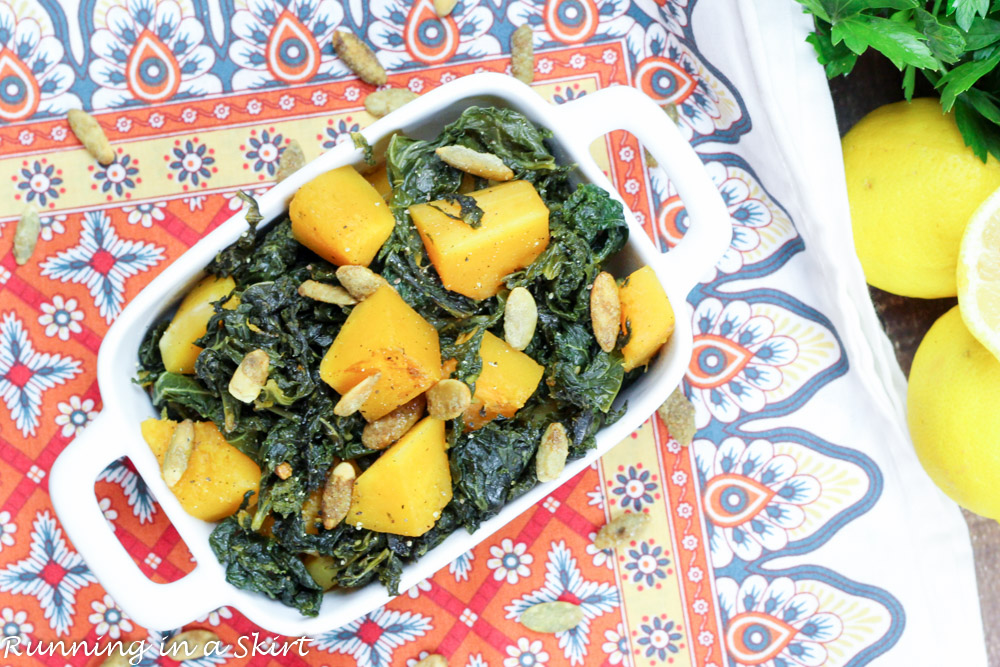 Sauteed Kale and Butternut squash, topped with pumpkin spice pumpkin seeds! The perfect fall side dish/ Running in a Skirt