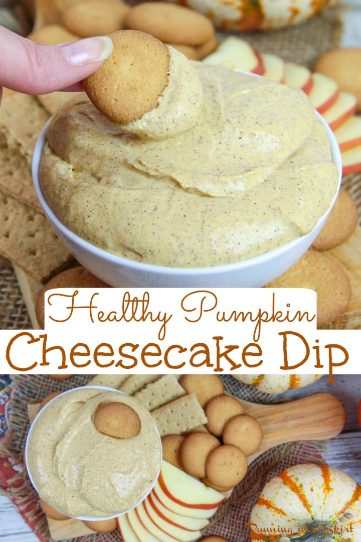Healthy Pumpkin Cheesecake Dip recipe - only 6 Ingredients! This skinny, easy and fluffy Pumpkin Dip is made with cream cheeses, greek yogurt, maple syrup, and pumpkin. The best dip for Halloween, Fall parties or Thanksgiving. Vegetarian / Running in a Skirt #vegetarian #healthy #thanksgiving #fallfood #recipe #pumpkin #healthyliving via @juliewunder