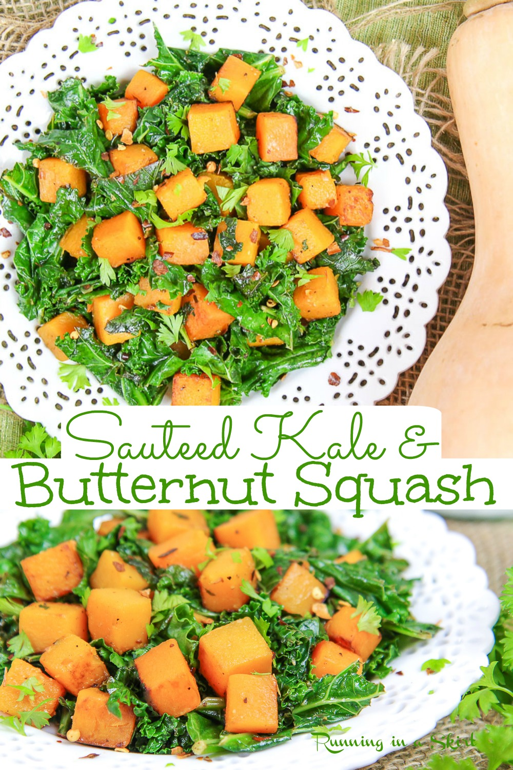 Sauteed Kale & Butternut Squash recipe - Vegetarian or Vegan Side Dish for Thanksgiving or Fall. Includes step by step how to cook instructions. Use as a side dish, on top of a grain bowl, or even filling for a wrap or quesadilla. Vegan, Vegetarian, Gluten Free, Keto / Running in a Skirt #thanksgiving #vegetarian #sidedish #kale #healthy #healthyliving via @juliewunder
