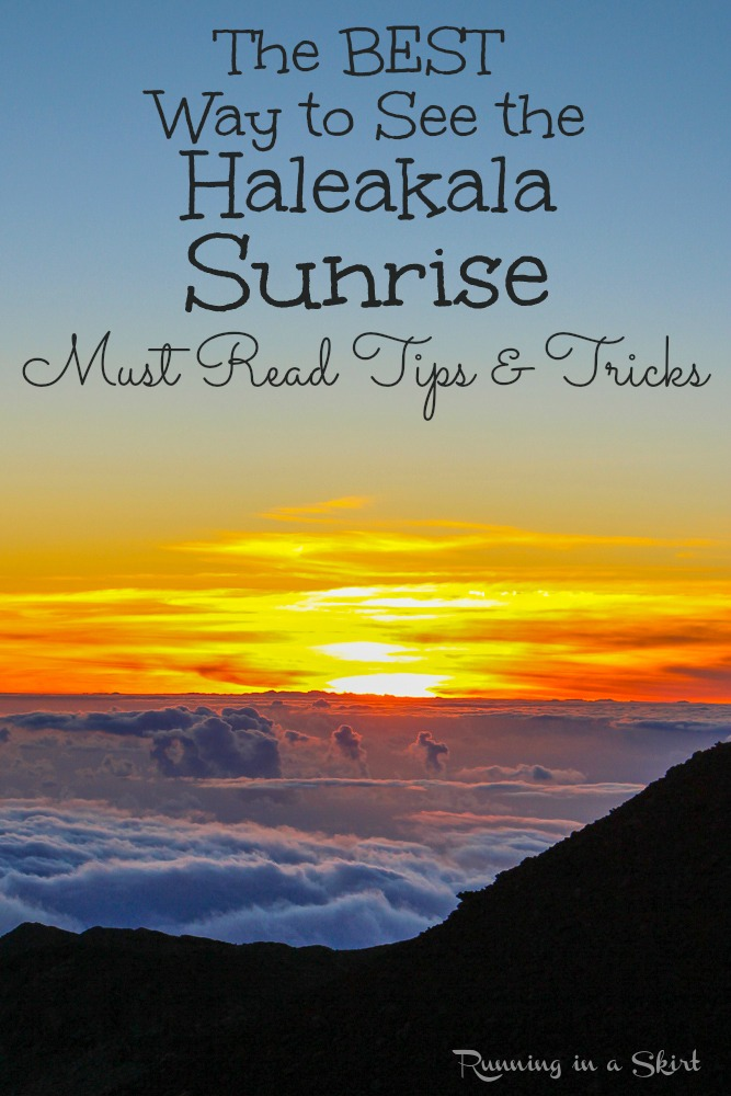 The Best Way to See the Haleakala Sunrise on Maui, Hawaii. Tips and tricks on a tour vs. going on your own.  Plus the outfit you need to wear! It also includes things to do in upcountry Maui as you come back down the mountain.  Including the must do lavender farm and surfing goat dairy.  / Running in a Skirt #hawaii #travel #maui #sunrise #adventure via @juliewunder
