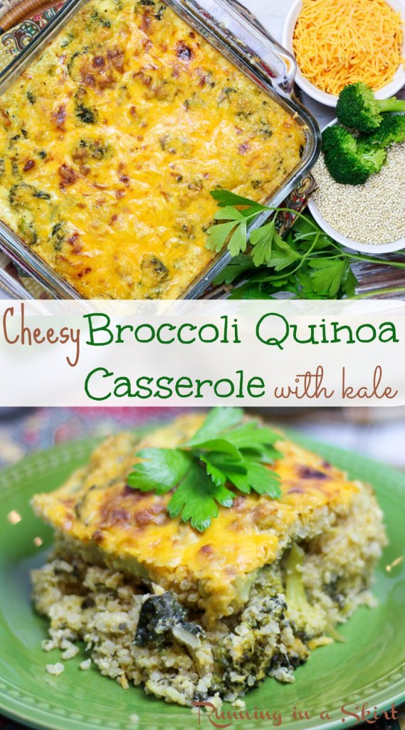 "Cheesy Broccoli Quinoa Casserole with kale - ""healthy"" comfort food! / Running in a Skirt"