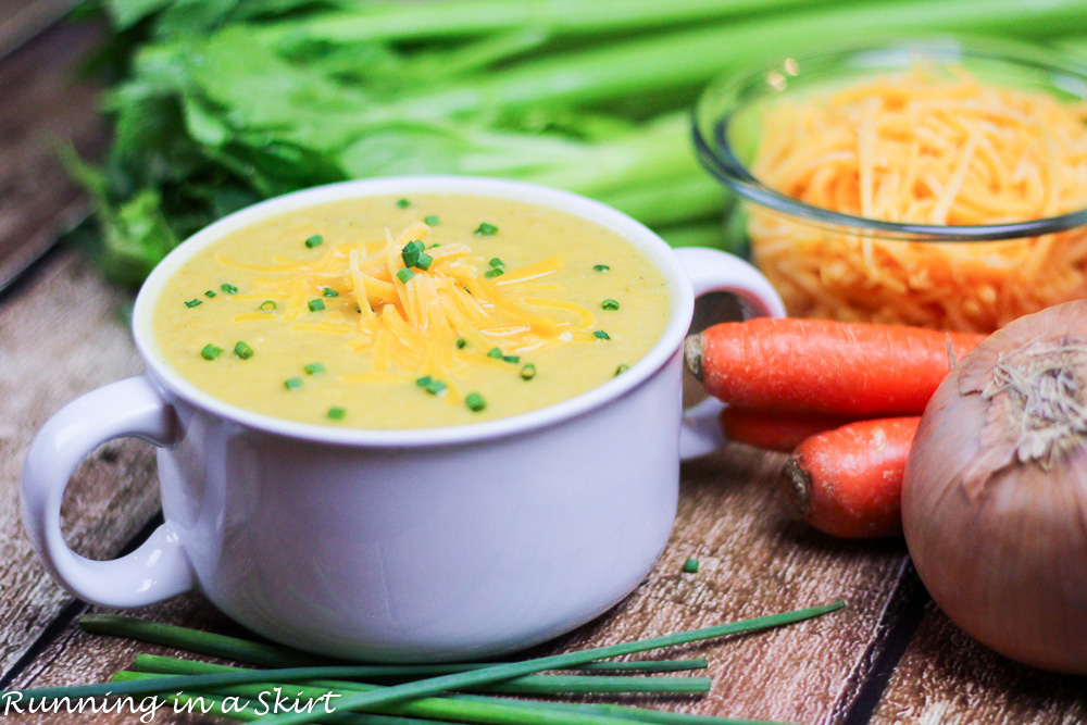 Crock Pot Cauliflower Cheddar Soup - you'll never miss the potato with this low carb sub!/ Running in a Skirt