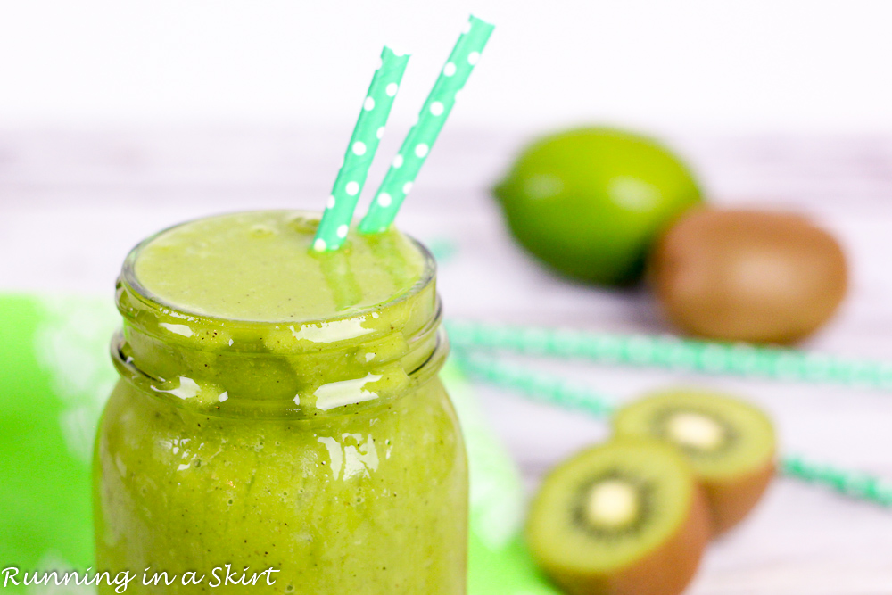 Honey Dew Kiwi Smoothie recipe. Vegan, Vegetarian, Creamy, Healthy and delicious!/ Running in a Skirt
