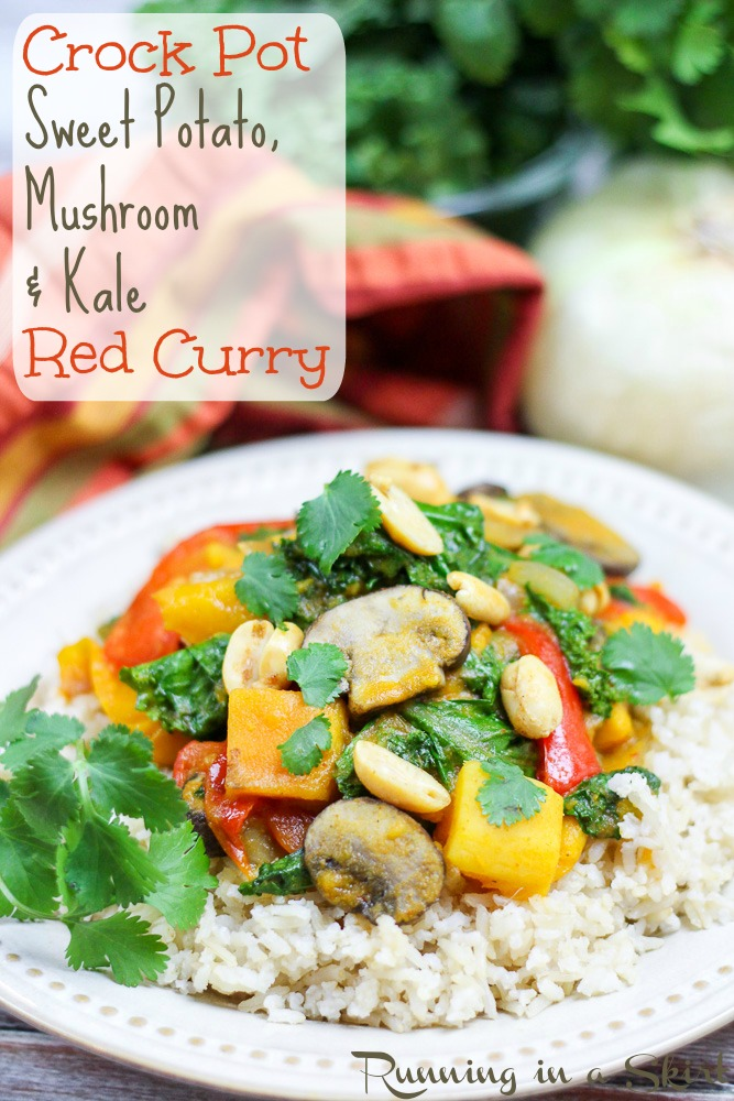 Vegetarian Crock Pot Red Curry - sweet potato, mushroom & kale!/ Running in a Skirt