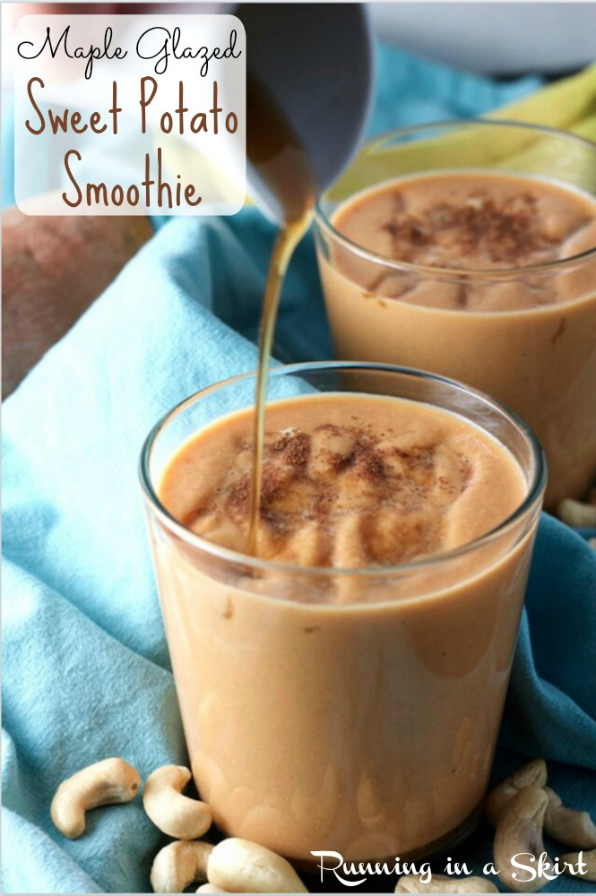 Maple Glazed Sweet Potato smoothie- amazing smoothie ingredients and recipes delivered to your door with Green Blender! Find out how it works on Running in a Skirt or GreenBlender.com