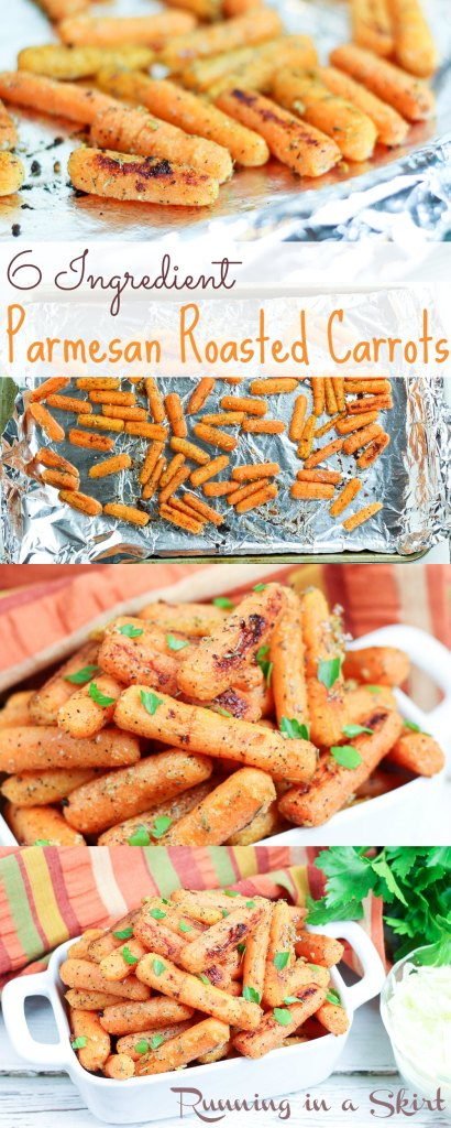 6 Ingredient Parmesan Roasted Carrots - fresh, healthy side dish!/ Running in a Skirt