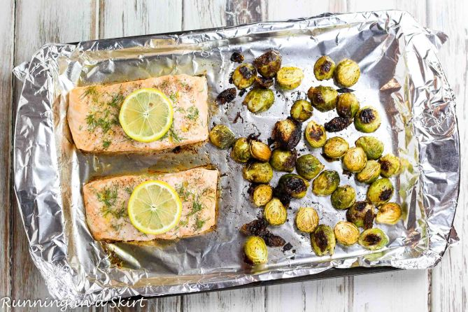 Easy One Pan Meals - Salmon and Brussels Sprout Bake recipe - only 6 ingredients! / Running in a Skirt