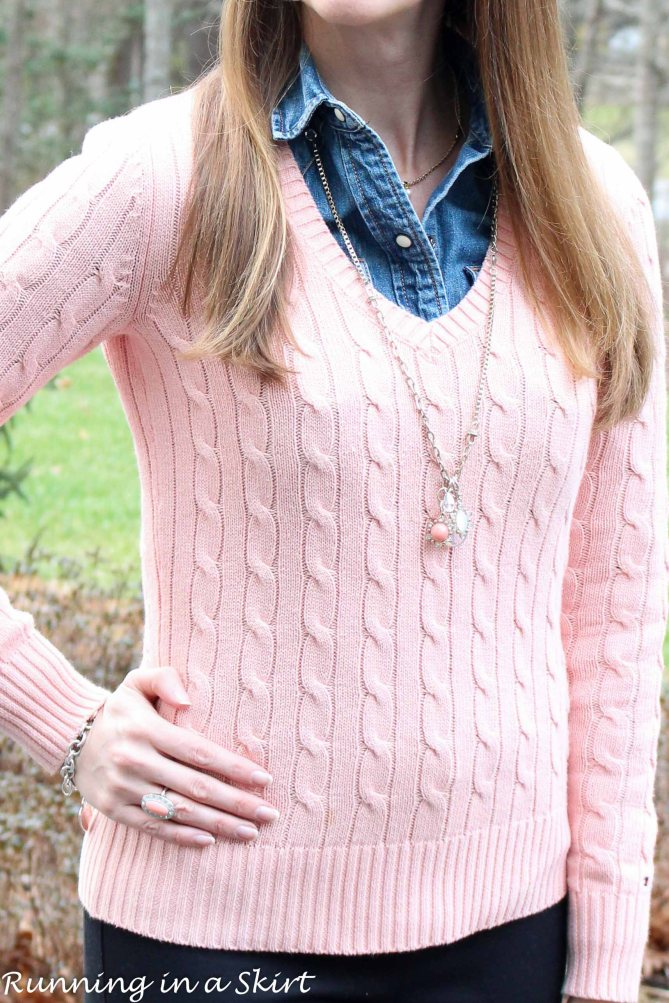 Peach Cable Knit Sweater & Denim Shirt/ Running in a Skirt
