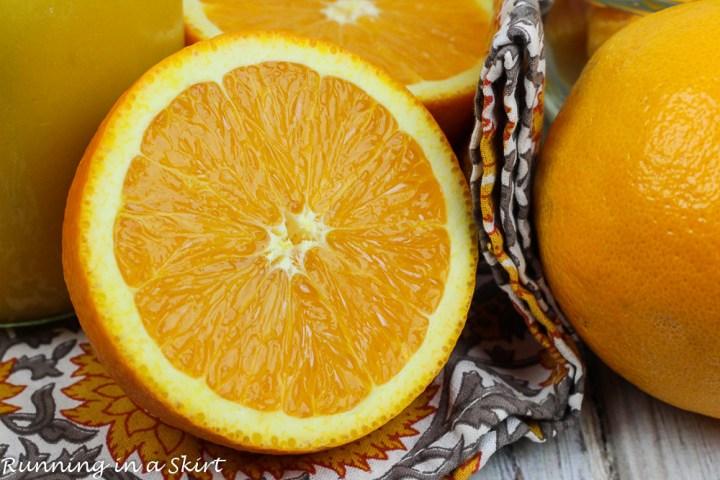 Oranges on a napkin.