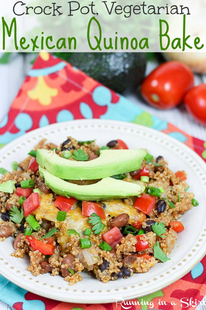 Crock Pot Vegetarian Mexican Quinoa Casserole recipe. A healthy and easy Mexican dinner casserole with an easy vegan option. Made in the slow cooker / crockpot and great as a bowl, tacos, burrito or even bowl. Filled with black beans and seasoning. / Running in a Skirt #healthy #vegetarian #vegan #vegetarianrecipe #pescatarian #healthyliving #crockpot #slowcooker #vegetariancrockpot via @juliewunder