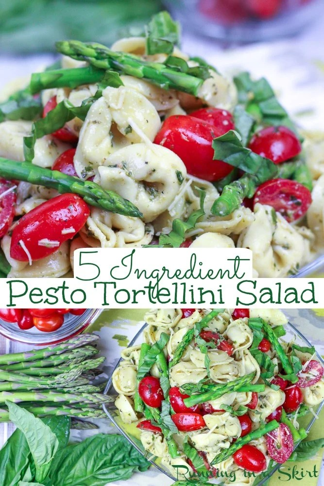 5 Ingredient Pesto Tortellini Salad with Asparagus and tomato pinterest pin