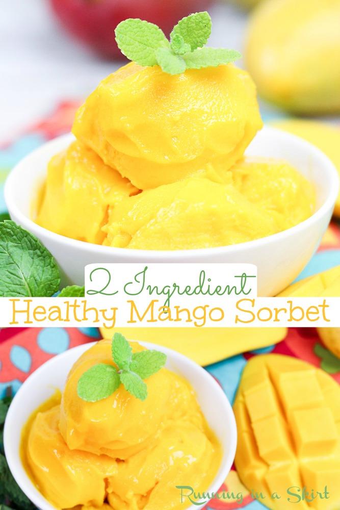 2 Ingredient healthy mango sorbet pinterest pin