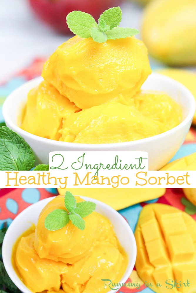 Healthy Mango Sorbet recipe - only 2 Ingredients! This healthy sorbet is easy, simple and homemade. Vegan, dairy free and sugar free. Quick and made with fresh or frozen fruit. The perfect healthy mango dessert. / Running in a Skirt #vegan #dairyfree #sugarfree #2ingredients #mango via @juliewunder