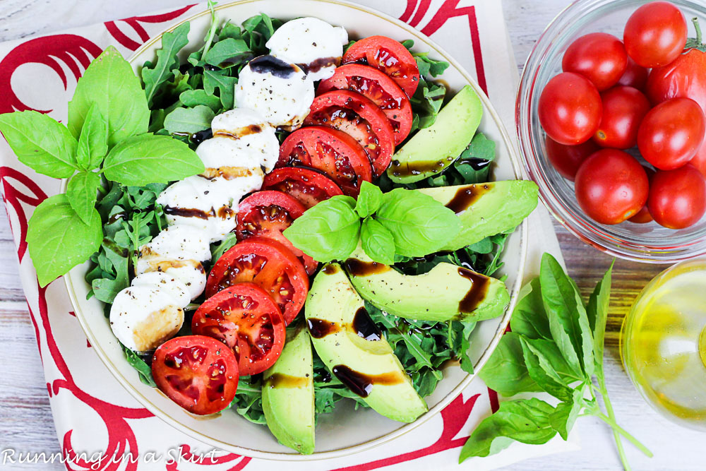 Avocado Caprese Salad with arugula- summer salad/ Running in a Skirt