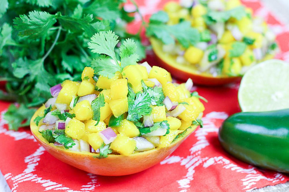 5 Ingredient Fresh Mango Salsa in mango cups / Running in a Skirt