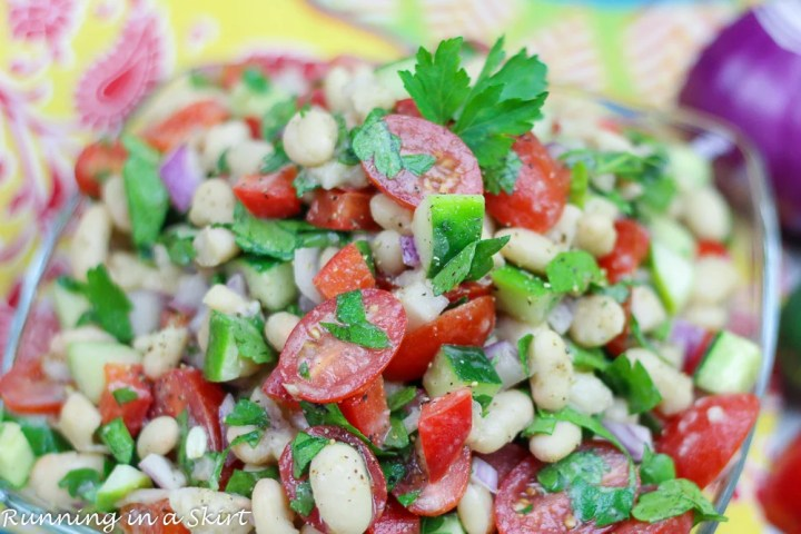 Vegan White Bean Salad recipe in a bow.