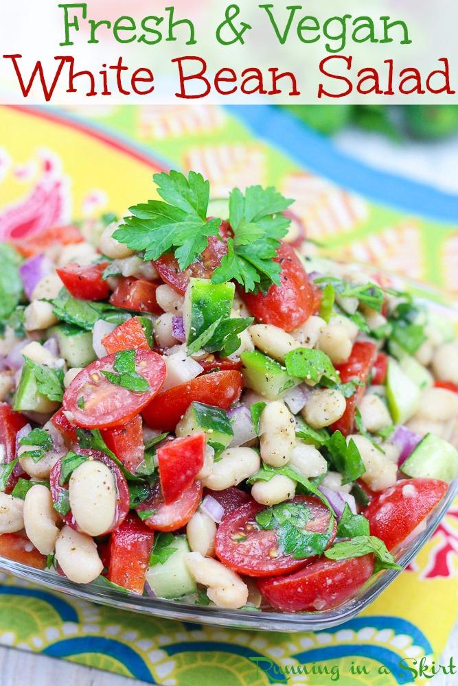 Vegan White Bean Salad recipe for Pinterest
