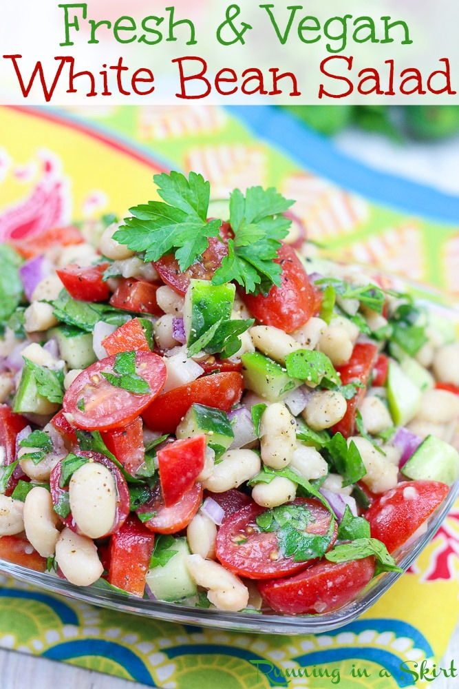 Fresh & Vegan White Bean Salad - Mediterranean flavors and packed with veggies like tomato, cucumber and bell peppers. Only 8 Ingredients! Perfect clean eating cold salad for summer. / Running in a Skirt #vegan #salad #vegetarian #cleaneating #recipe #healthy #healthyliving via @juliewunder