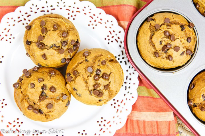 3 Ingredient Pumpkin Chocolate Chip Muffins on a decorative white plate.