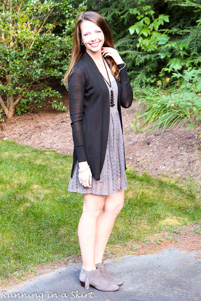 Styling a Gray Summer Dress for Fall. / Running in a Skirt