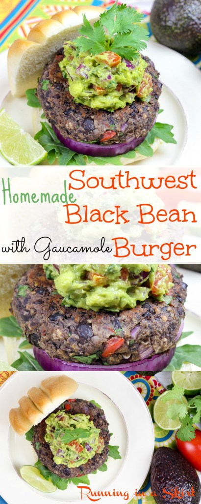 Homemade Southwest Black Bean Burgers with Gaucamole