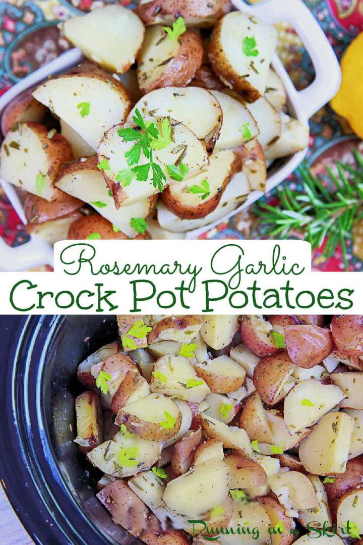 Crock Pot Potatoes with Rosemary & Garlic recipe - 5 Ingredients! The best slow cooker red potato recipe with garlic, lemon and herbs. Make these crockpot potatoes recipe instead of roasted red potatoes to keep your oven open for other cooking. Perfect for side dishes for a crowd for a cookout, Christmas or Easter. Perfect with chicken, pork or fish. Vegetarian, Vegan, Clean Eating, Healthy/ Running in a Skirt #vegetarian #vegan #healthy #crockpot #slowcooker #instantpot via @juliewunder