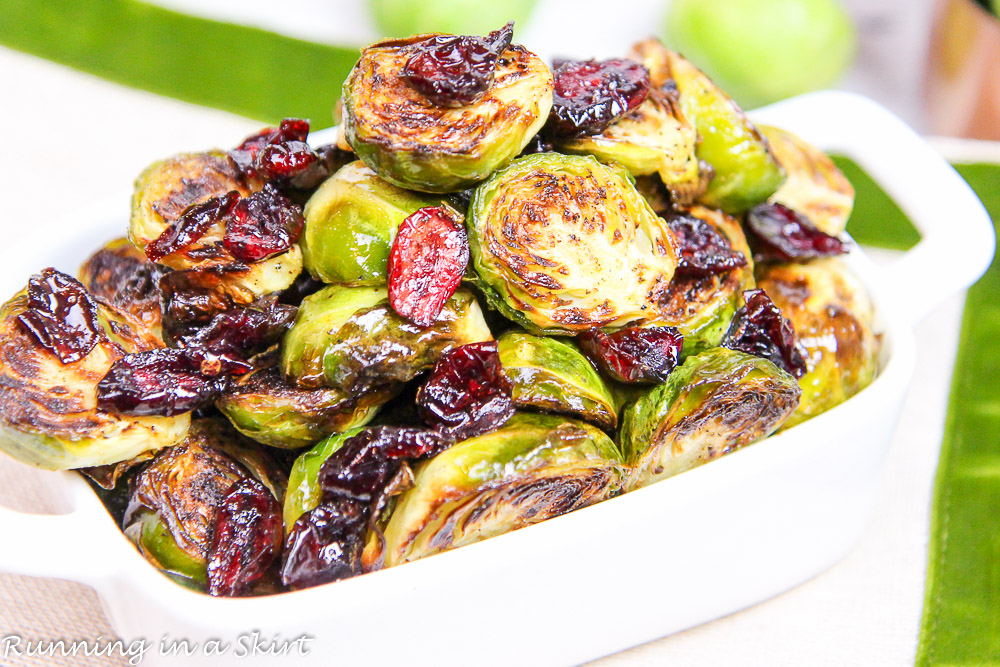 Maple Balsamic Brussels Sprouts and Cranberries