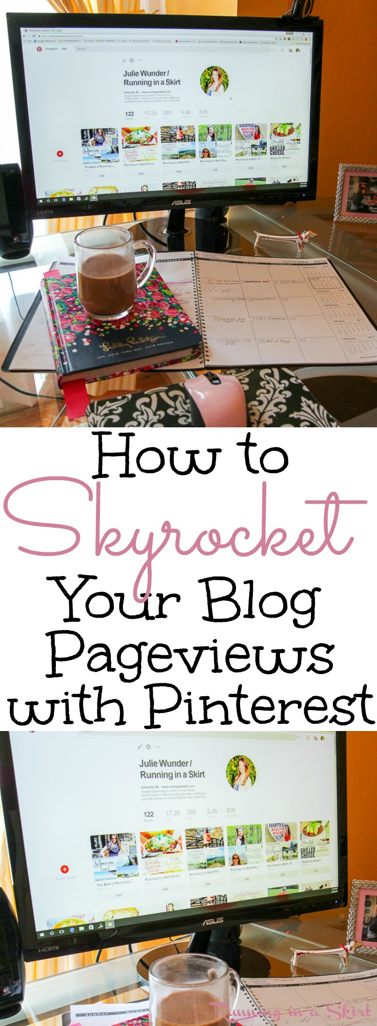 How I transformed my blog page views with Pinterest.  4 specific pinterest tips and tricks I used to get followers and traffic from Pinterest.  How to use the sight to improve your posts and get them seen!  Trying to grow your blog?  Read this! / Running in a Skirt via @juliewunder