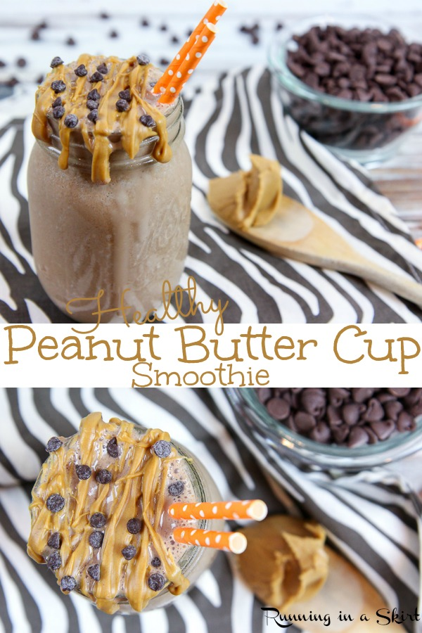 Healthy Peanut Butter Cup Smoothie recipe - a tasty peanut butter and chocolate smoothie with frozen banana, greek yogurt, ice cubes and powdered peanut butter.  Simple, easy and perfect for blenders! / Running in a Skirt #smoothie #recipe #healthy #peanutbutter #chocolate #cleaneating