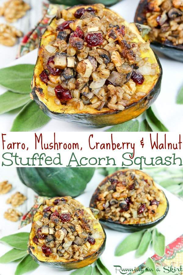 Vegetarian / Vegan Stuffed Acorn Squash recipe - filled with fall flavor like farro, mushroom, dried cranberries and walnut. The perfect healthy recipes for Thanksgiving Sides or Main course. / Running in a Skirt #thanksgiving #vegan #vegetarian #acornsquash #healthy #cleaneating #holiday #christmas #recipe #healthyrecipe via @juliewunder